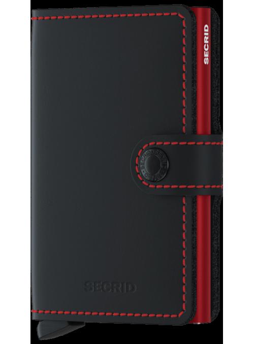 SECRID Miniwallet Matte Black -Red RFID portfel