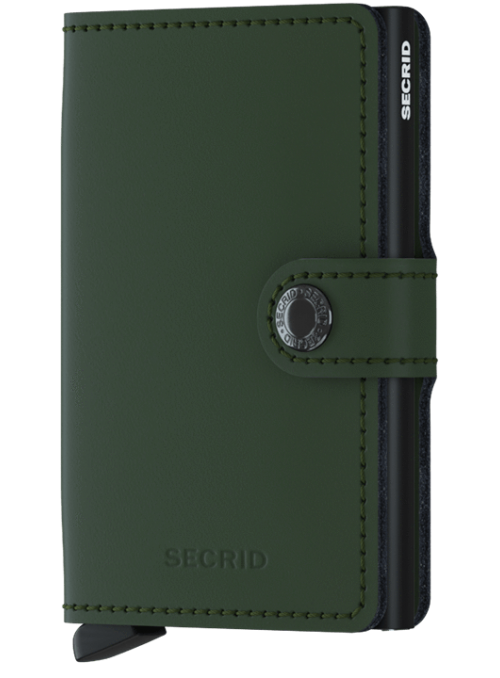 SECRID Miniwallet Matte Green - Black RFID portfel