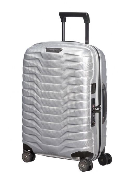 Samsonite Proxis Silver walizka kabinowa z poszerzeniem i portem USB