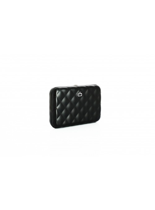 Portfel Aluminiowy ÖGON Design Black Quilted Button