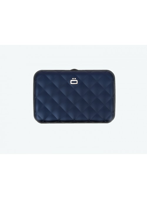 Portfel Aluminiowy ÖGON Design Navy Blue Quilted Button