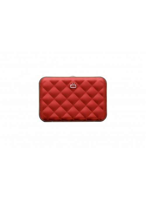 Portfel Aluminiowy ÖGON Design Red Quilted Button