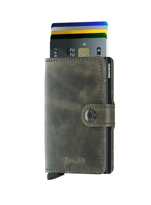SECRID Miniwallet Vintage Olive - Black RFID portfel