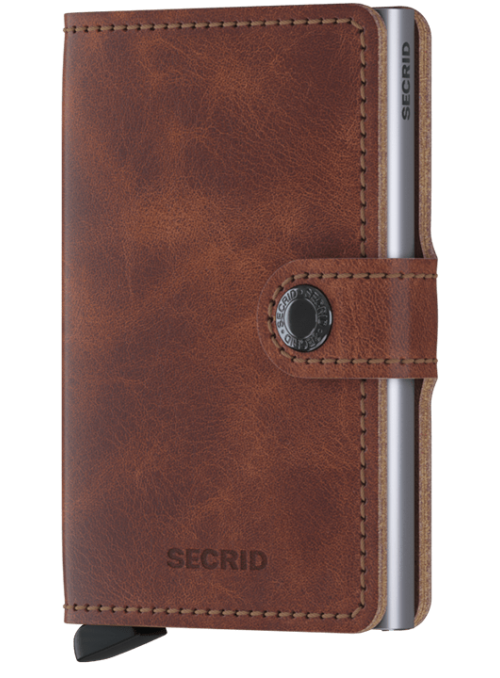SECRID Miniwallet Vintage Brown RFID portfel