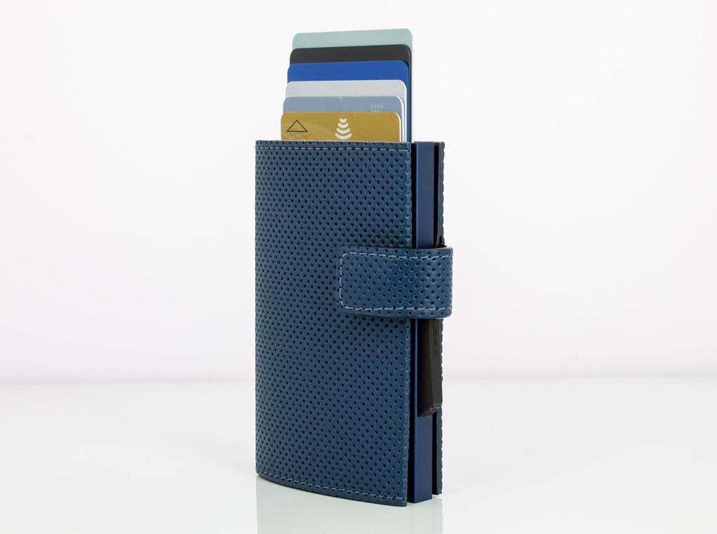 Ögon Design Cascade Zipper Wallet Snap Traforato Blue